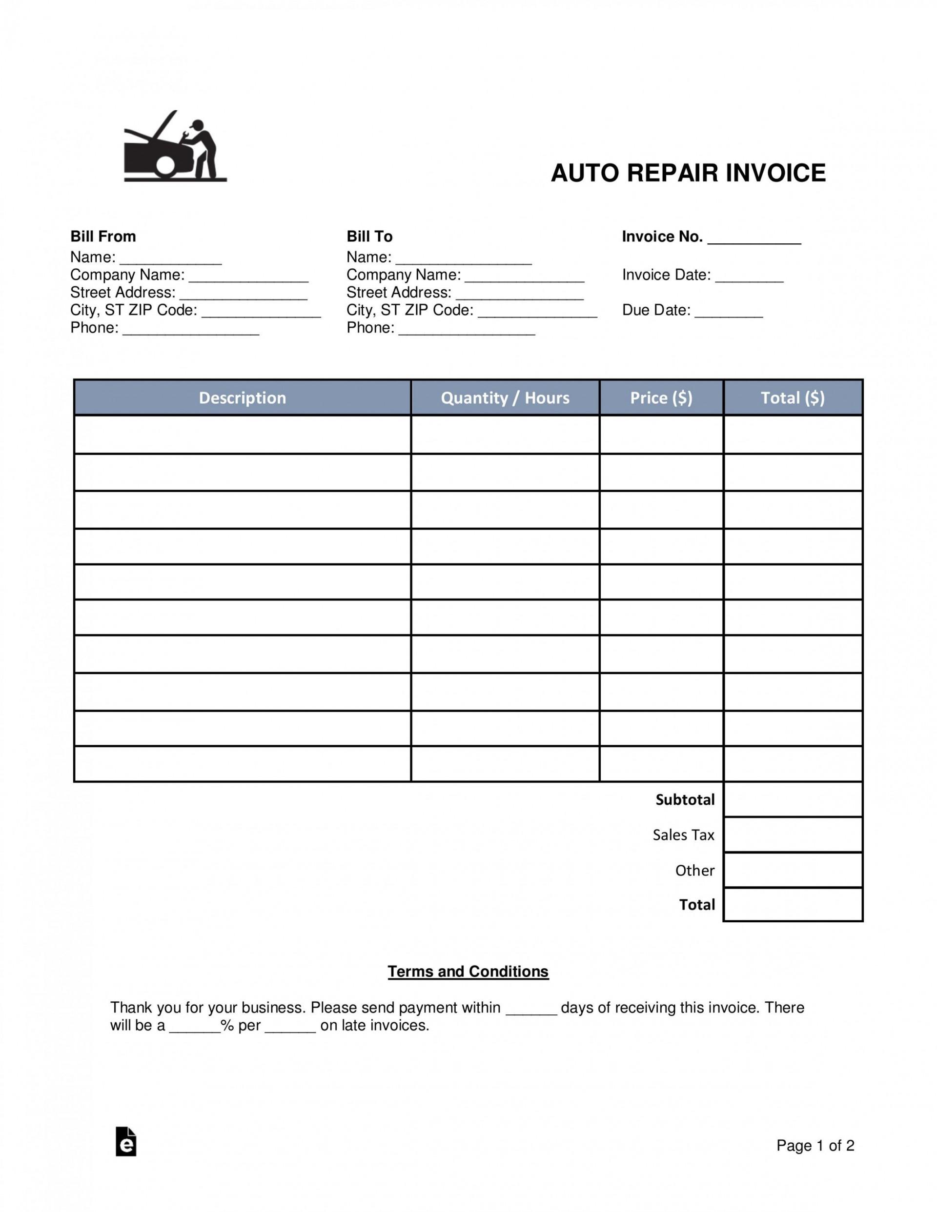 002 Surprising Auto Repair Work Order Template Excel Free Photo 1920