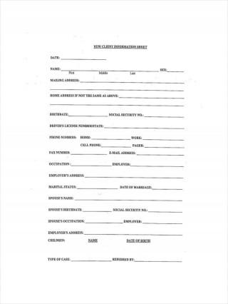 002 Surprising Client Information Form Template Excel Concept 320