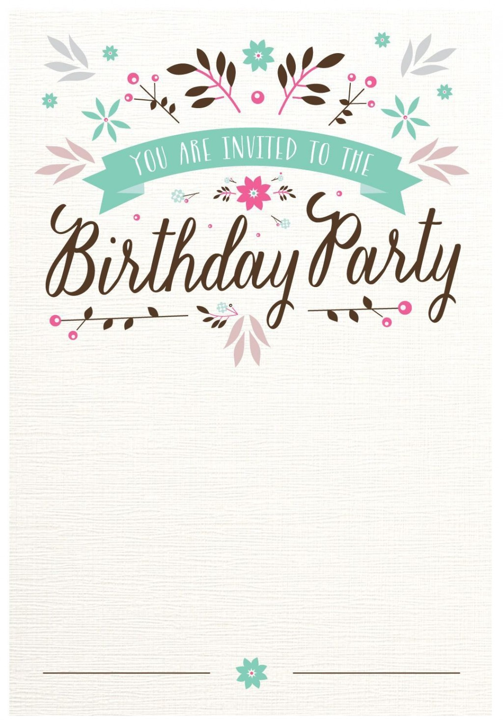 002 Surprising Free Birthday Card Invitation Template Printable Picture Large