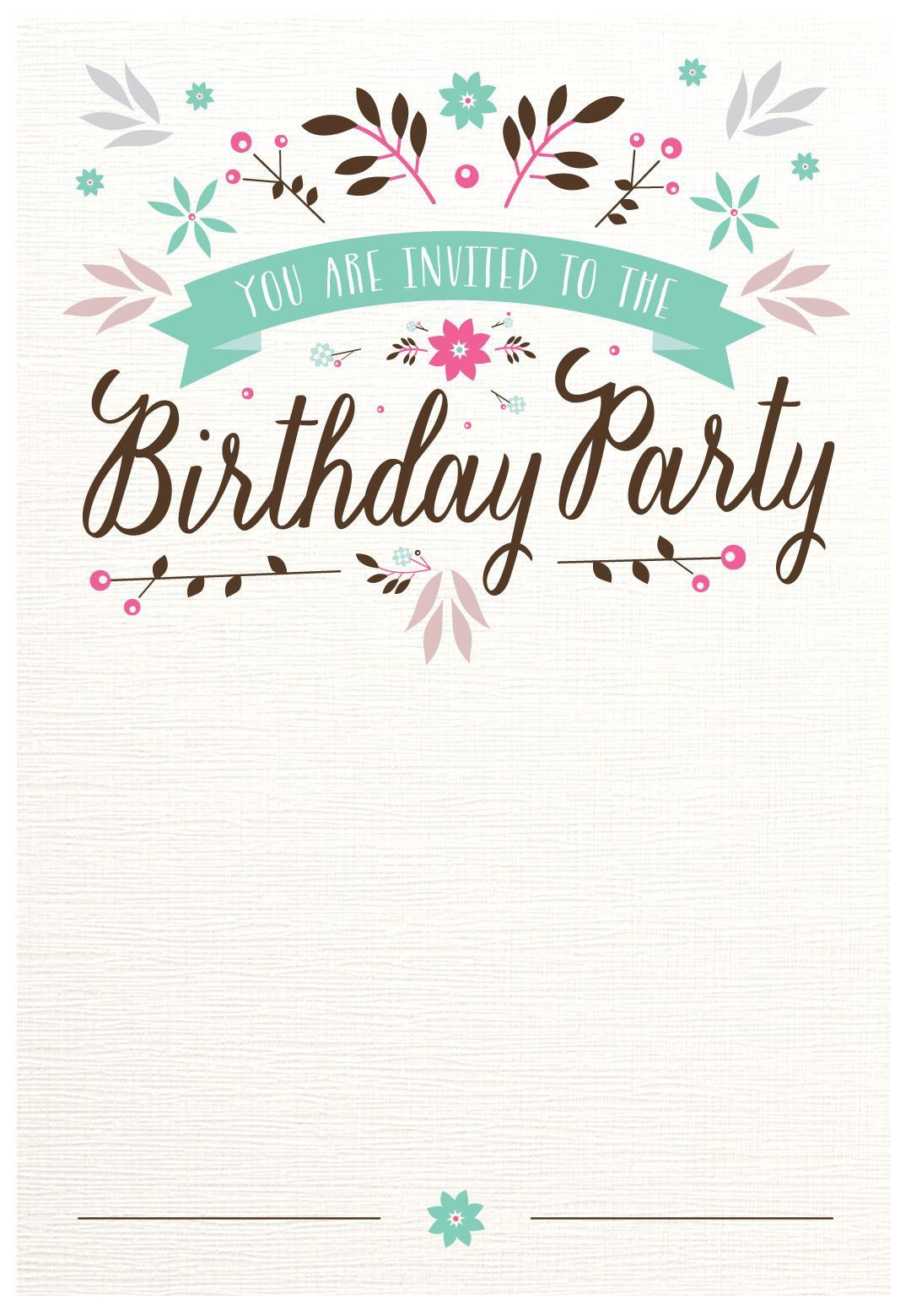 002 Surprising Free Birthday Card Invitation Template Printable Picture Full