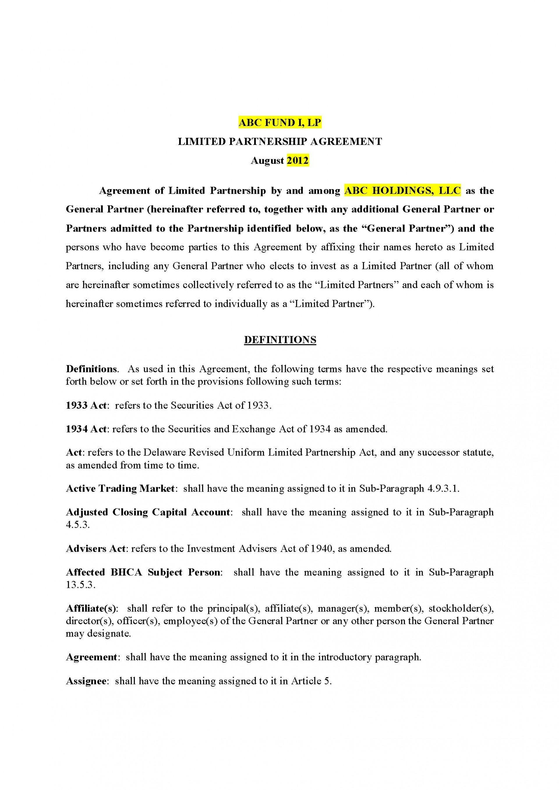 002 Surprising General Partnership Agreement Template Canada Design 1920