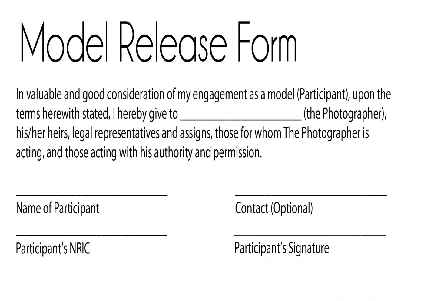 002 Surprising Model Release Form Template Picture  Photographer Gdpr Simple1400