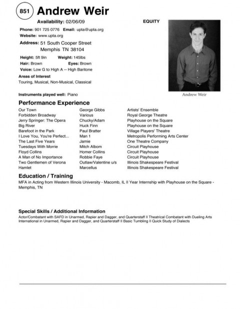 002 Surprising Musical Theater Resume Template Word Example  Theatre480