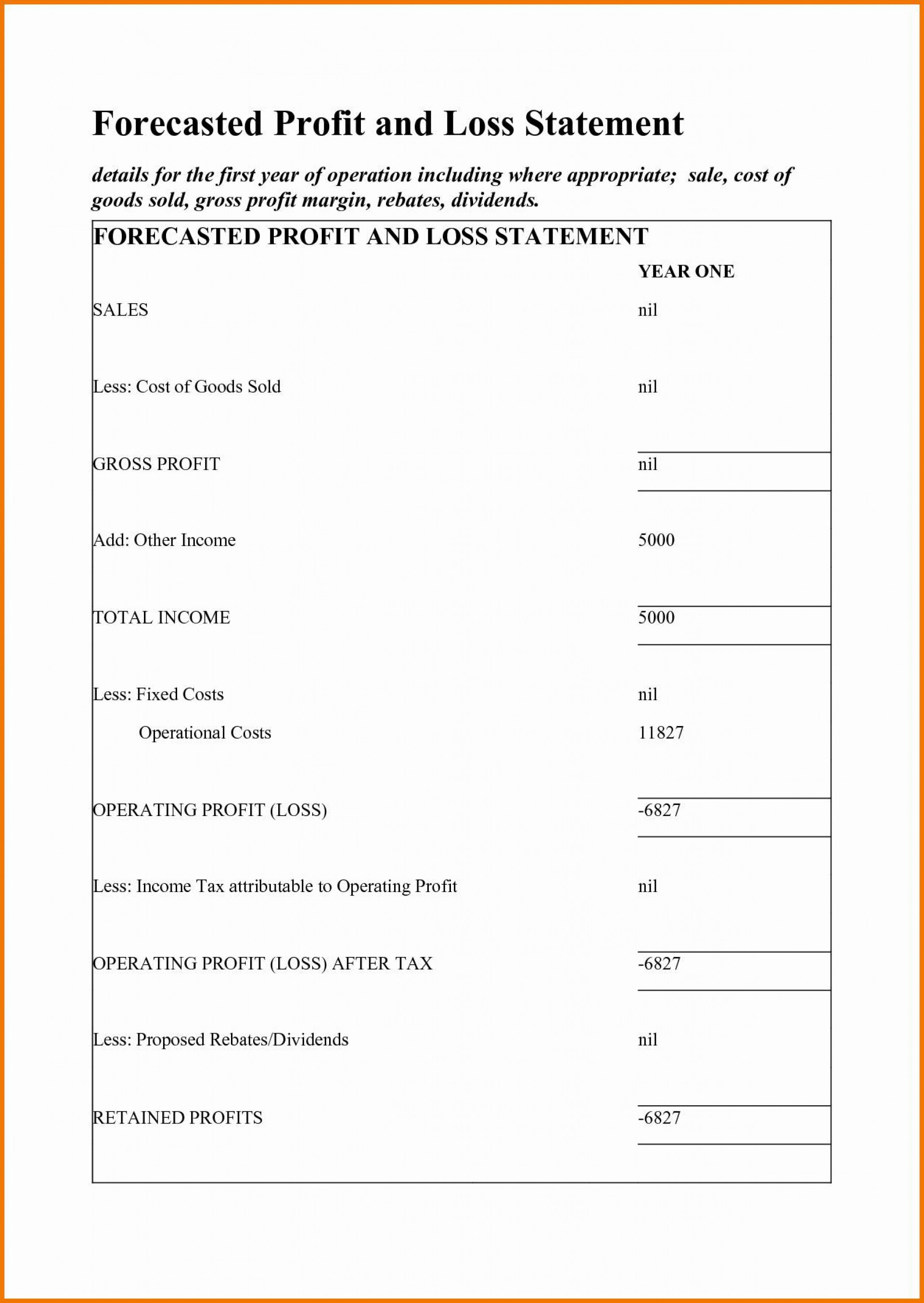 002 Surprising Simple Profit And Los Statement Template Free High Definition  For Self Employed Form1920
