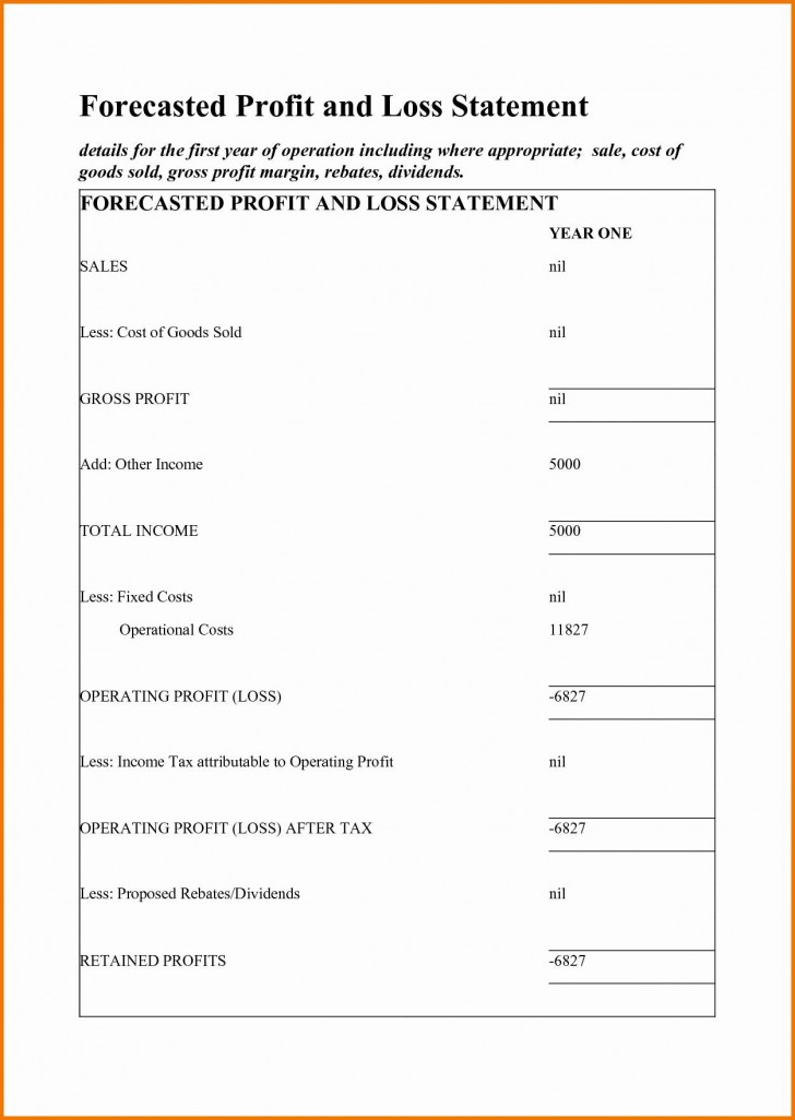 002 Surprising Simple Profit And Los Statement Template Free High Definition  For Self Employed Form728