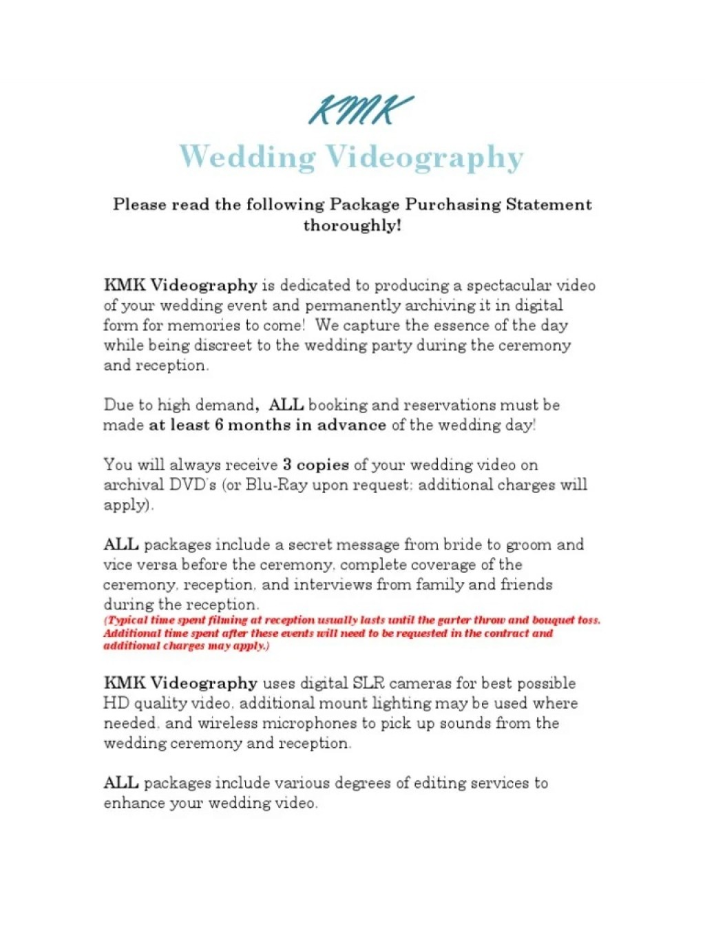 002 Surprising Wedding Videography Contract Template Highest Quality  FreeLarge
