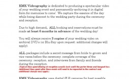 002 Surprising Wedding Videography Contract Template Highest Quality  Free