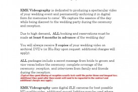 002 Surprising Wedding Videography Contract Template Highest Quality  Pdf Example Word
