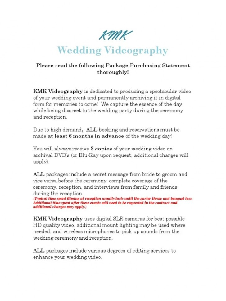 002 Surprising Wedding Videography Contract Template Highest Quality  Pdf Example Word728
