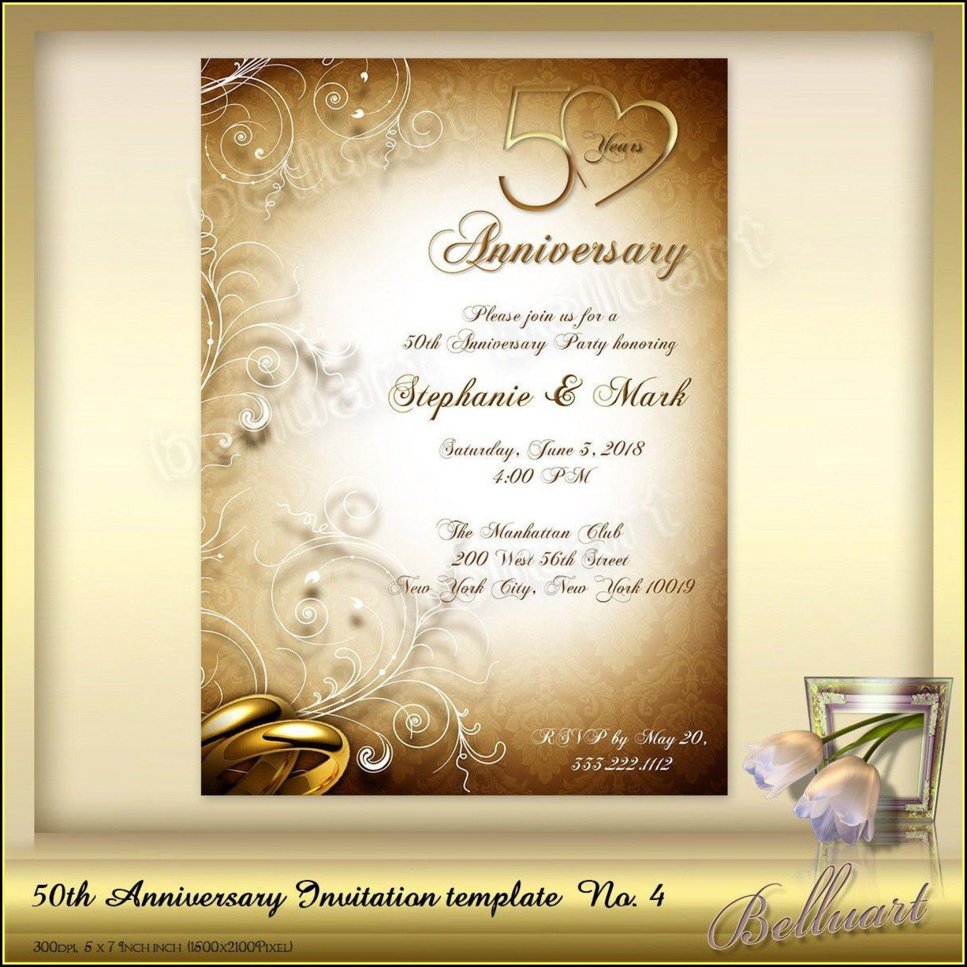 002 Top 50th Anniversary Invitation Template High Def  Templates Wedding Free Download Golden1920