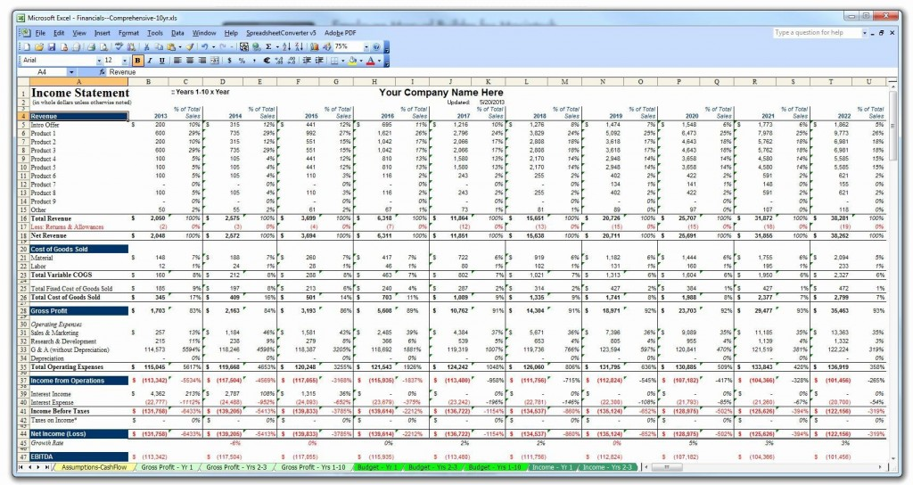 002 Top Busines Plan Template Excel Photo  Financial Free ContinuityLarge