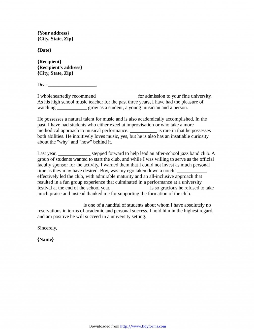Letter Of Recommendation For A College Student from www.addictionary.org