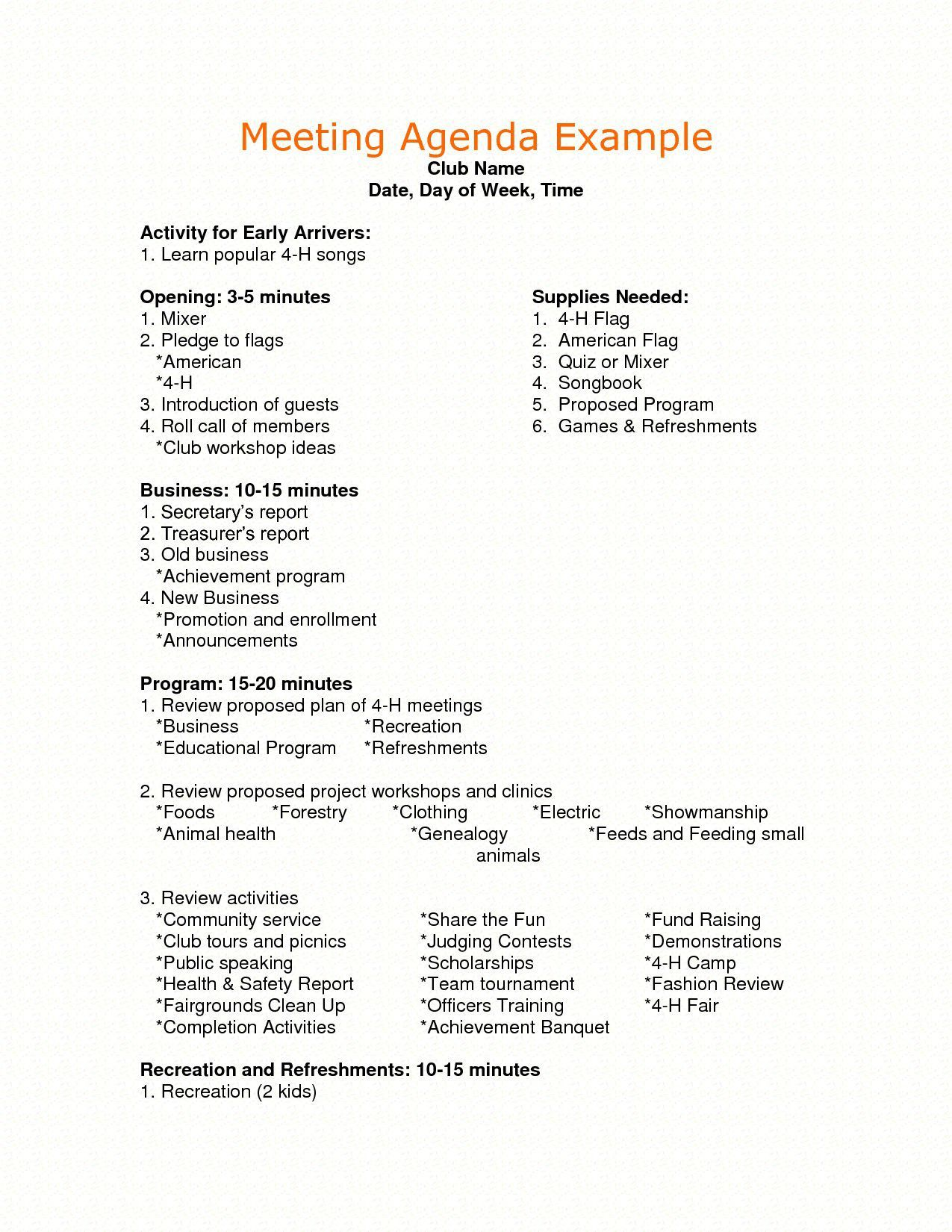 002 Top Formal Meeting Agenda Template Doc Highest Quality Full
