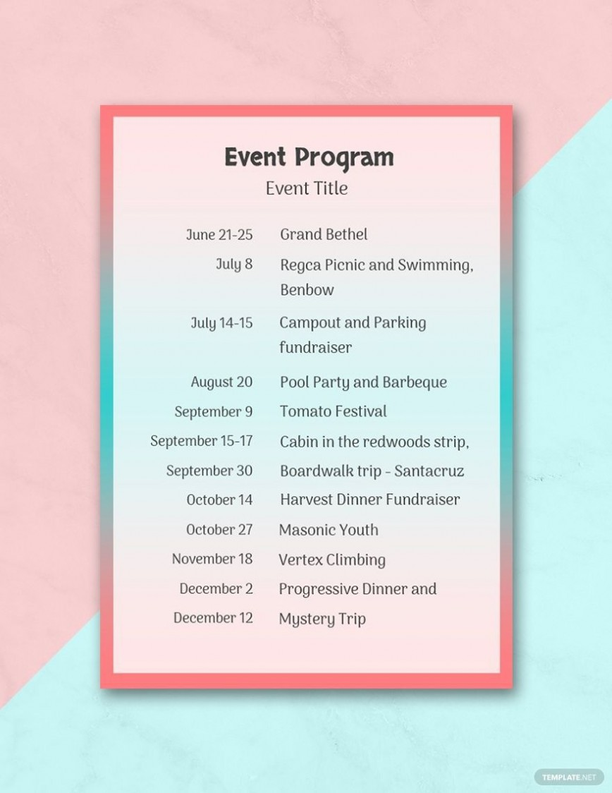 002 Top Free Event Program Template Sample  Templates For Microsoft Word
