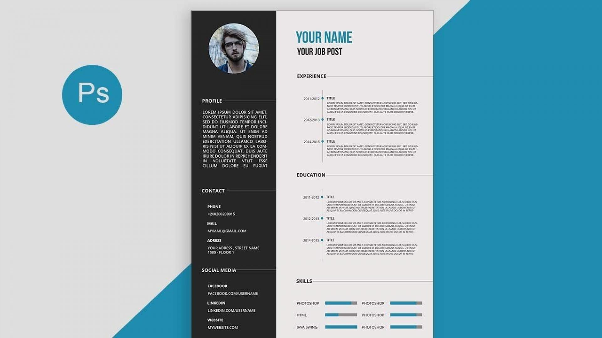 002 Top How To Create A Resume Template In Photoshop High Resolution 1920