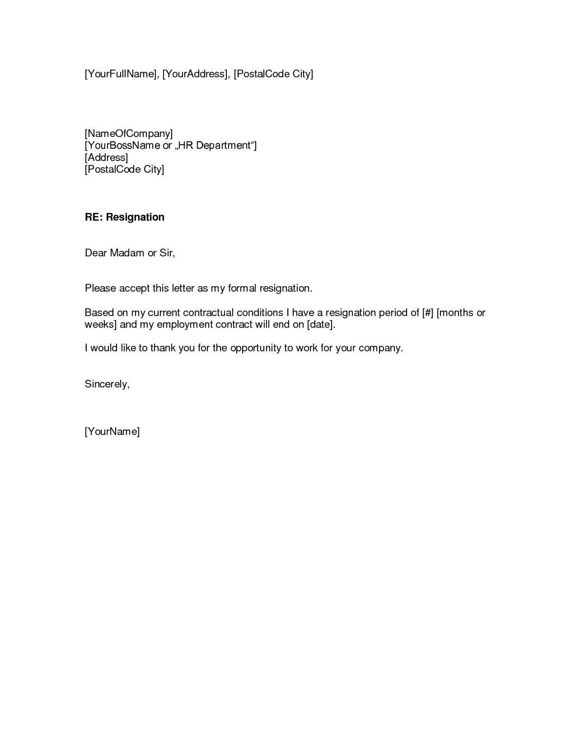 002 Top Letter Of Resignation Template Free Photo  Pdf Sample1920