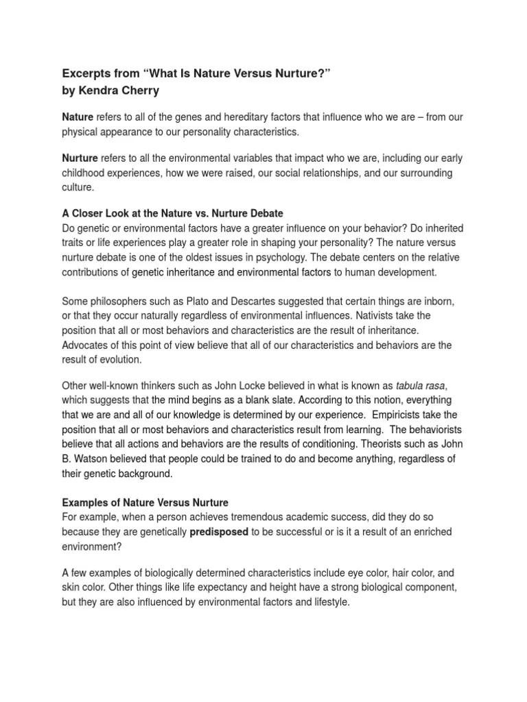 002 Top Nature V Nurture Essay Inspiration  Vs Prompt Psychology Pdf TopicFull