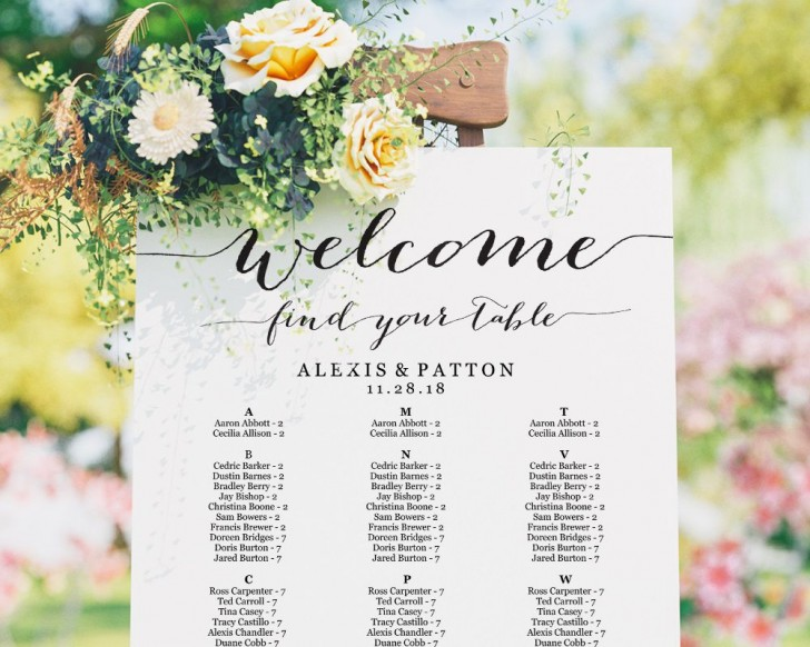 002 Top Seating Chart Wedding Template Sample  Alphabetical Word Table Plan728