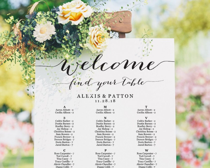 002 Top Seating Chart Wedding Template Sample  Alphabetical Word Table Plan868