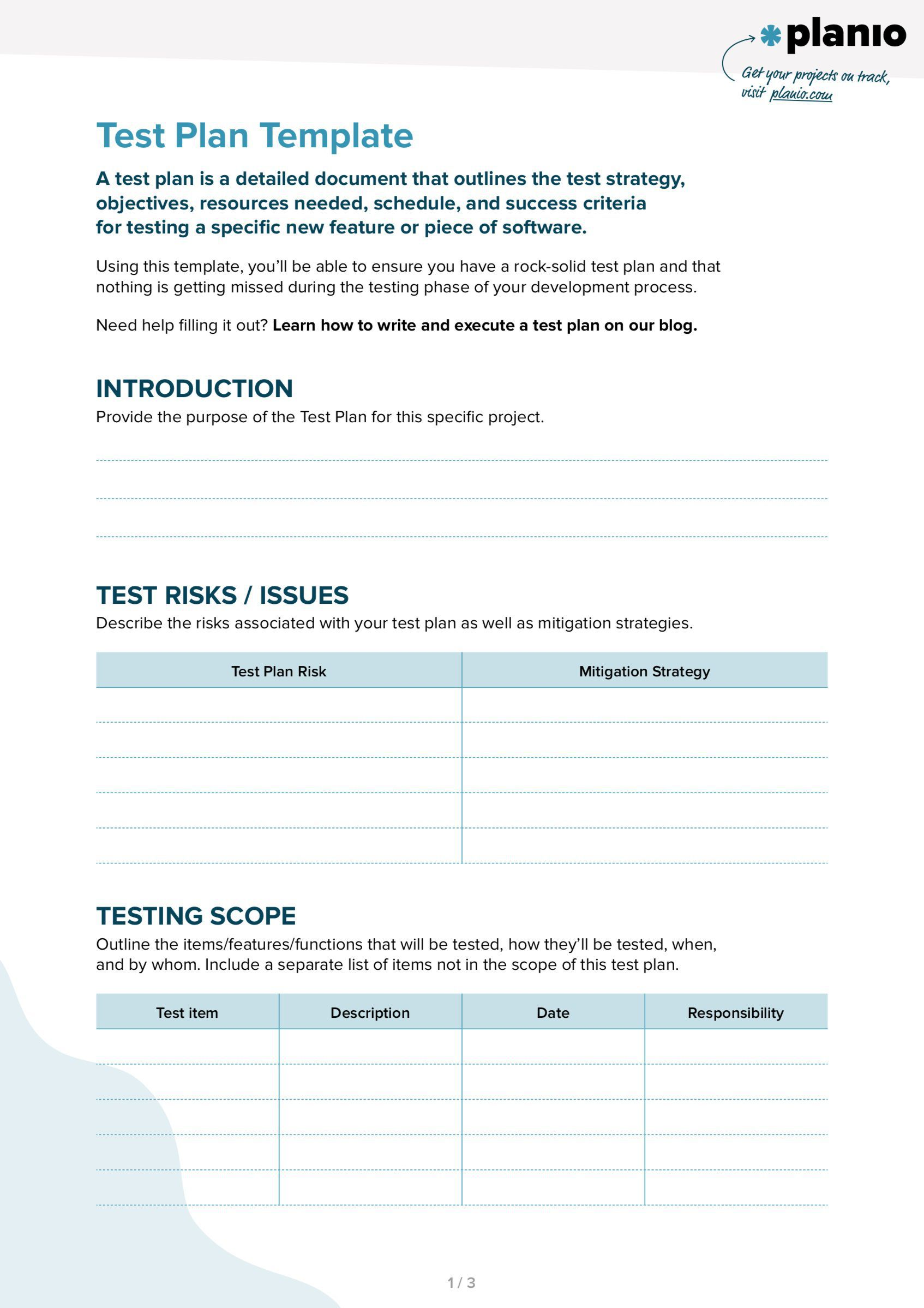 002 Top Simple Software Test Plan Example Highest Quality  TemplateFull