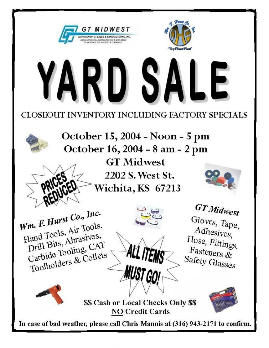 002 Top Yard Sale Flyer Template Sample  Free Garage Microsoft Word868