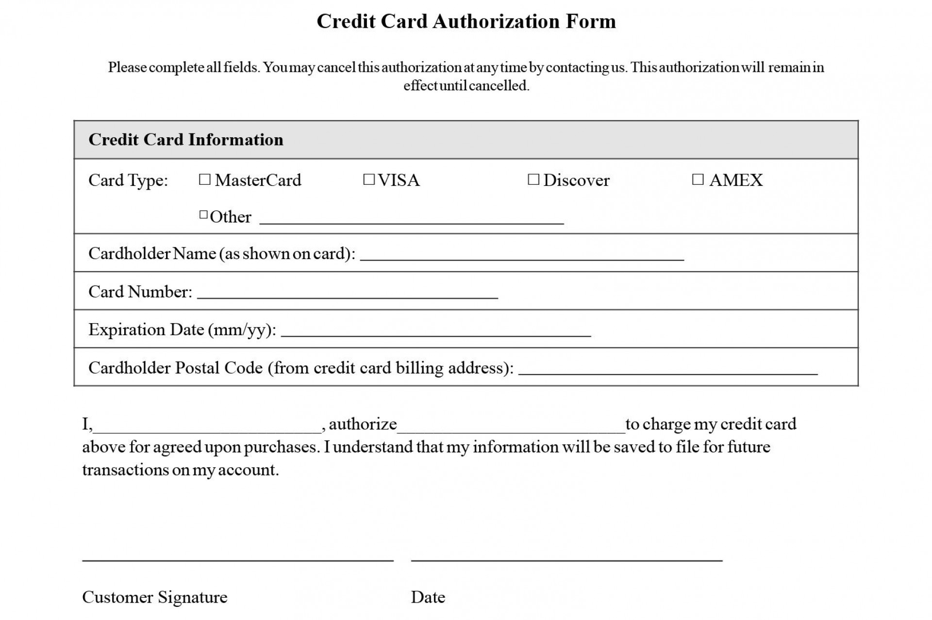 002 Unbelievable Automatic Credit Card Payment Authorization Form Template High Def 1920
