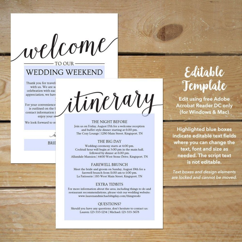 002 Unbelievable Destination Wedding Itinerary Template Sample  Welcome Letter And FreeLarge