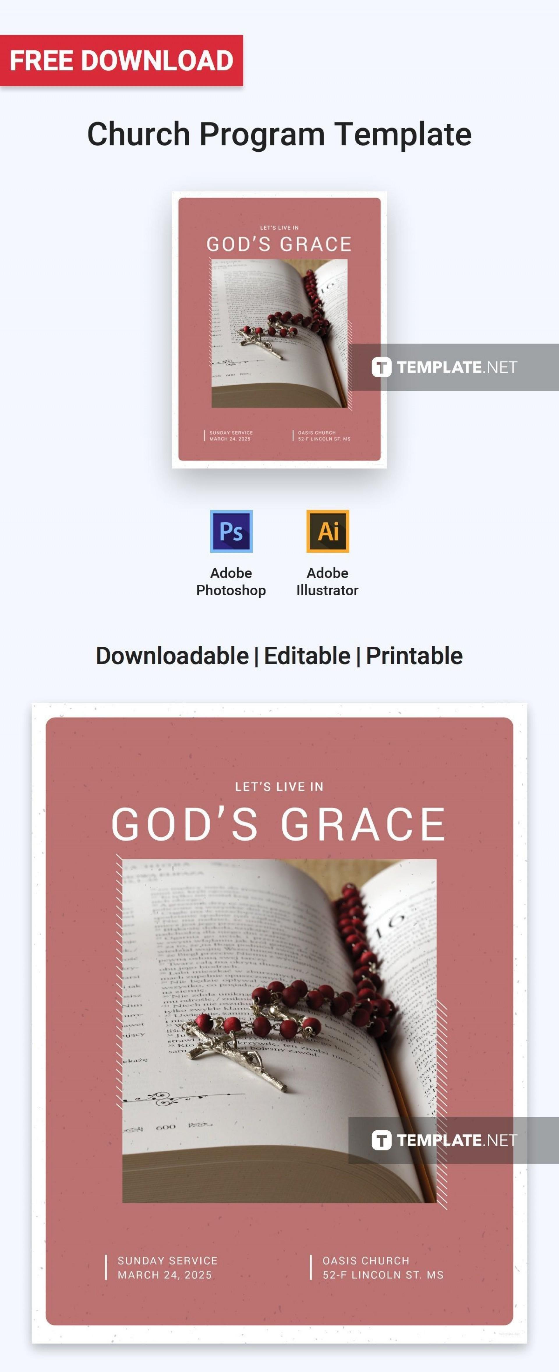 002 Unbelievable Free Church Program Template High Definition  Printable Anniversary Doc1920