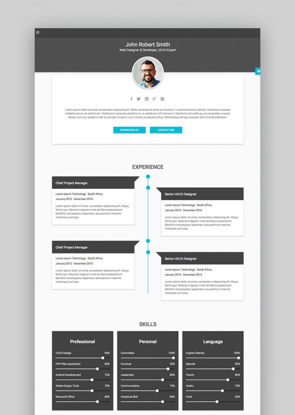 002 Unbelievable Free Html Resume Template Sample  Html5 Best Cv Desmond / DownloadLarge