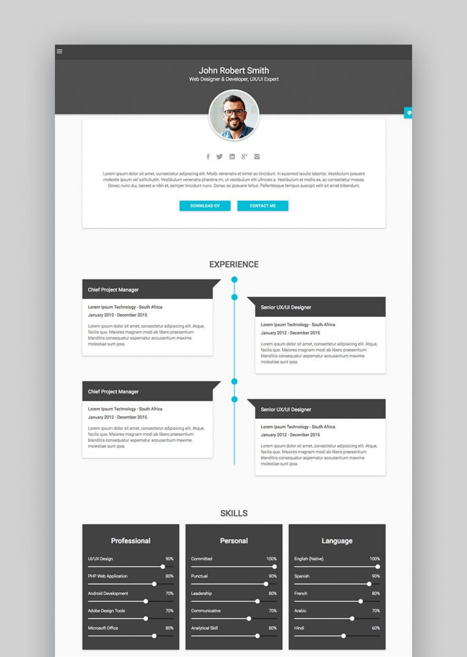 002 Unbelievable Free Html Resume Template Sample  Html5 Best Cv Desmond / Download1920