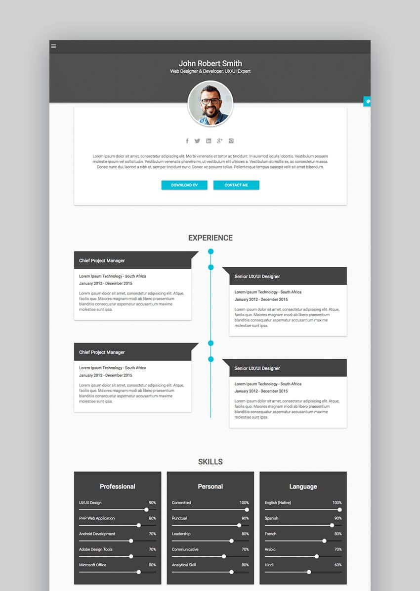 002 Unbelievable Free Html Resume Template Sample  Html5 Best Cv Desmond / DownloadFull