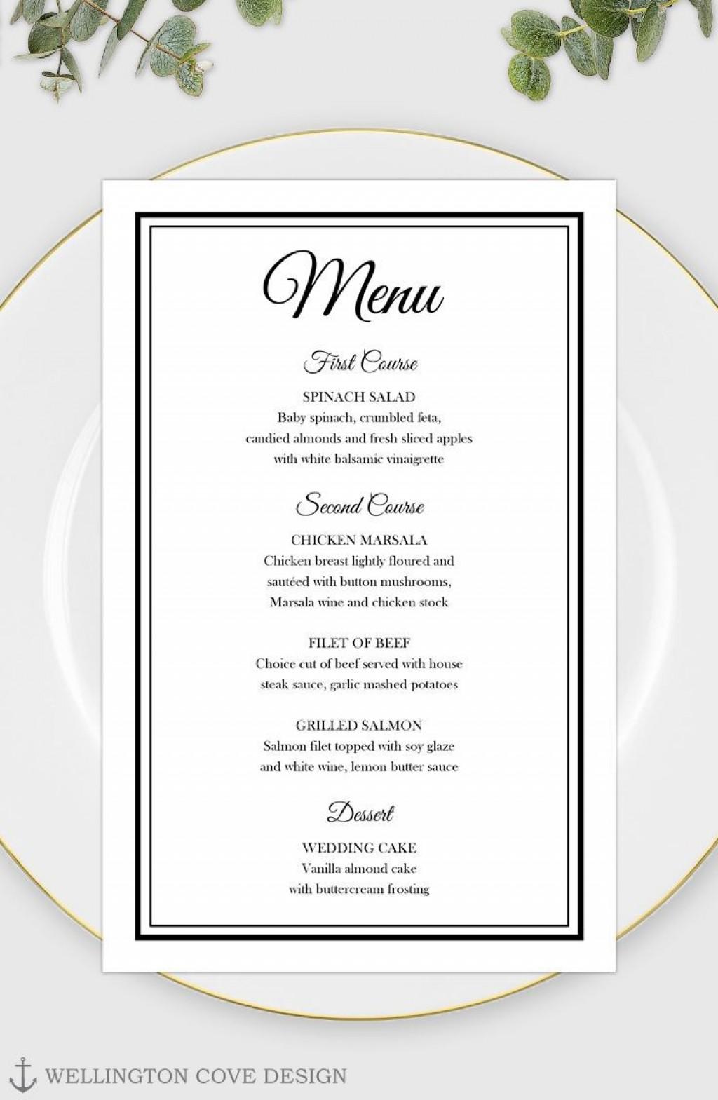 002 Unbelievable Free Wedding Menu Template To Print Example  Printable CardLarge