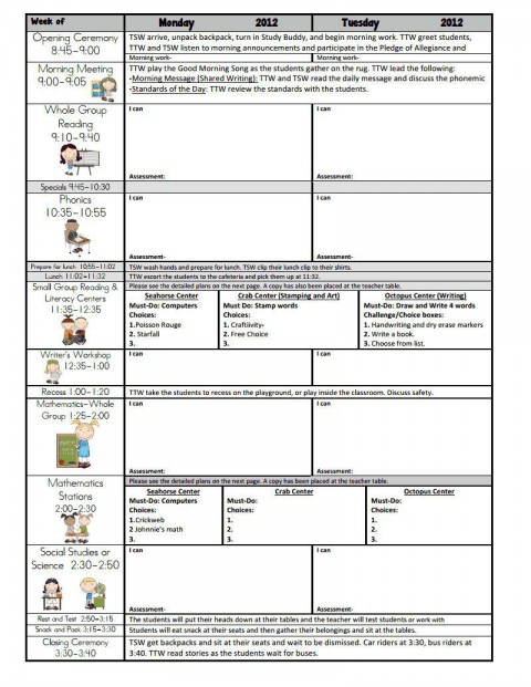 002 Unbelievable Free Weekly Lesson Plan Template Google Doc High Resolution 480