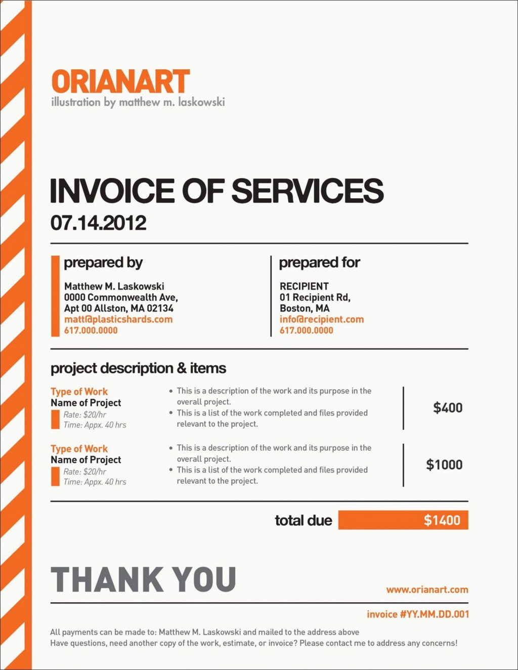 002 Unbelievable Freelance Designer Invoice Example Concept  Simple TemplateLarge