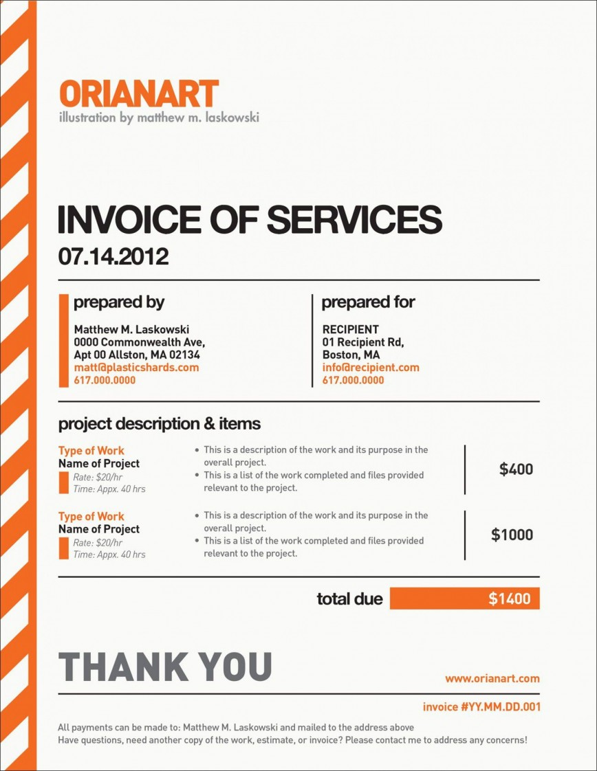 002 Unbelievable Freelance Designer Invoice Example Concept  Simple Template