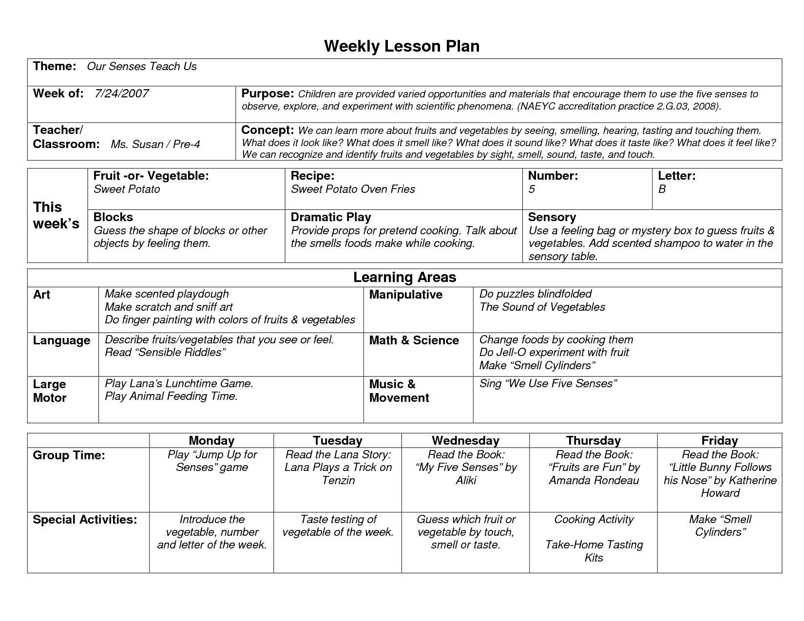 002 Unbelievable Preschool Lesson Plan Template Concept  Free Printable Creative Curriculum DocFull