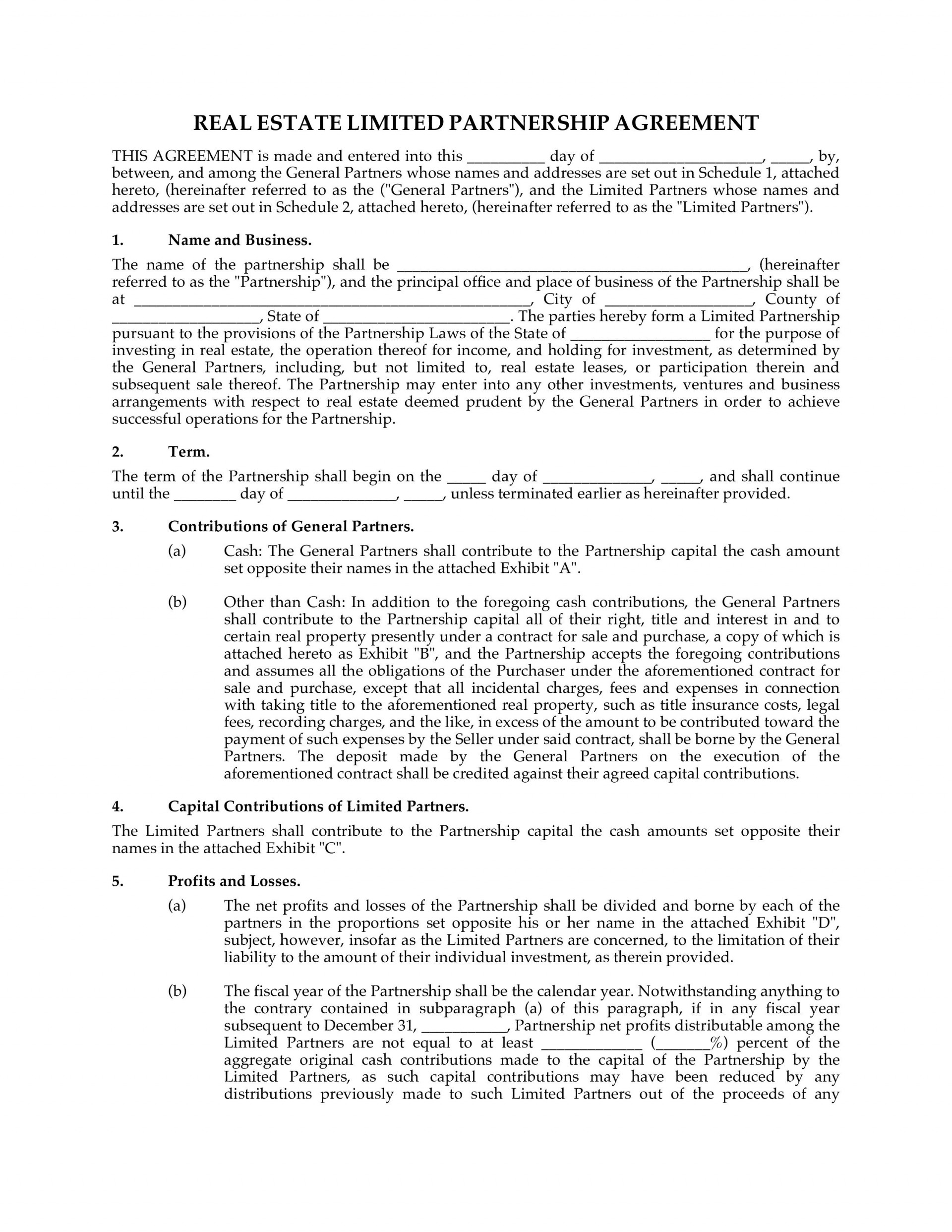 002 Unbelievable Real Estate Partnership Agreement Template Highest Clarity  Team Investment1920