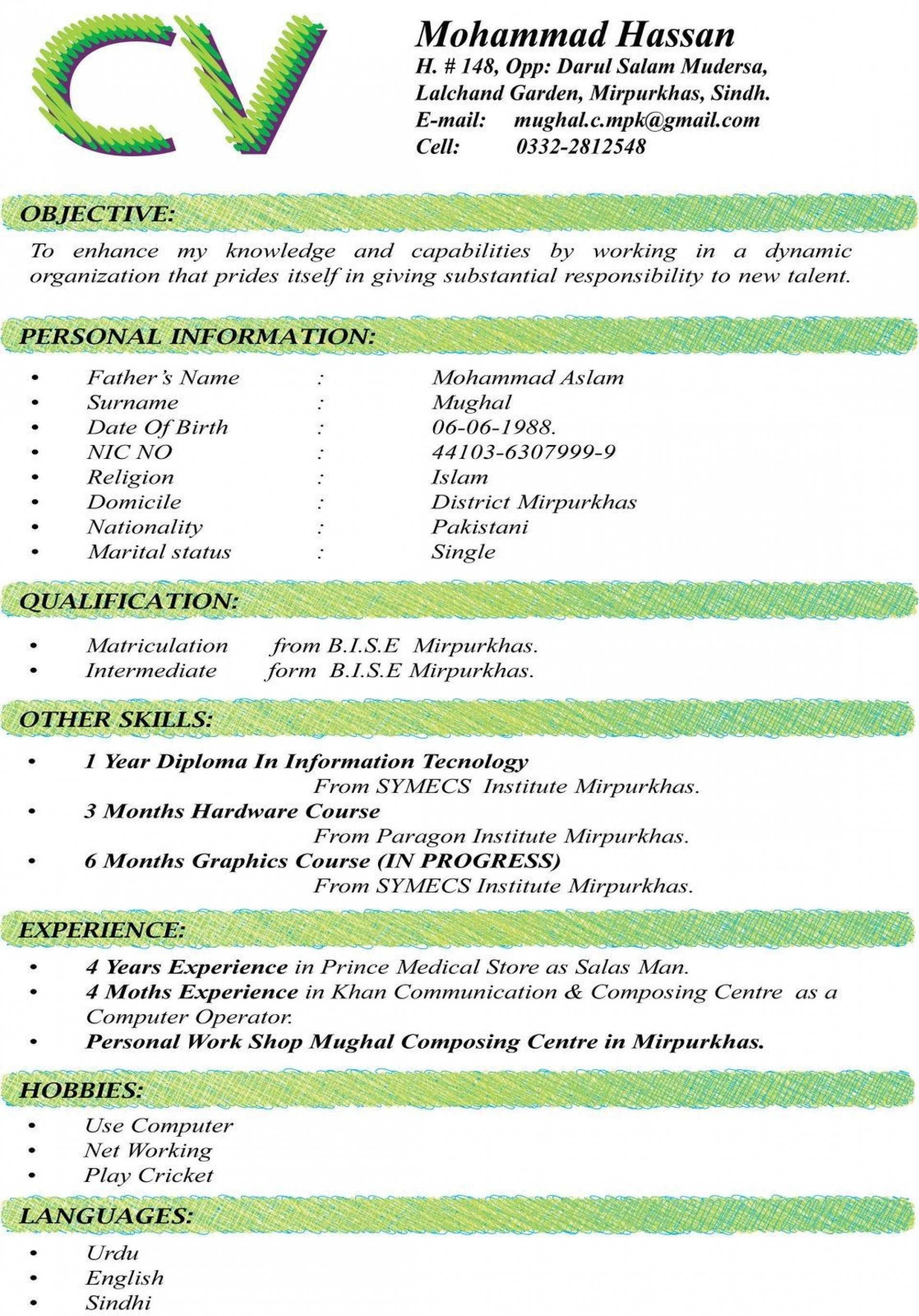 002 Unbelievable Sample Curriculum Vitae Template Download High Definition  Professional Pdf Free For Student1920
