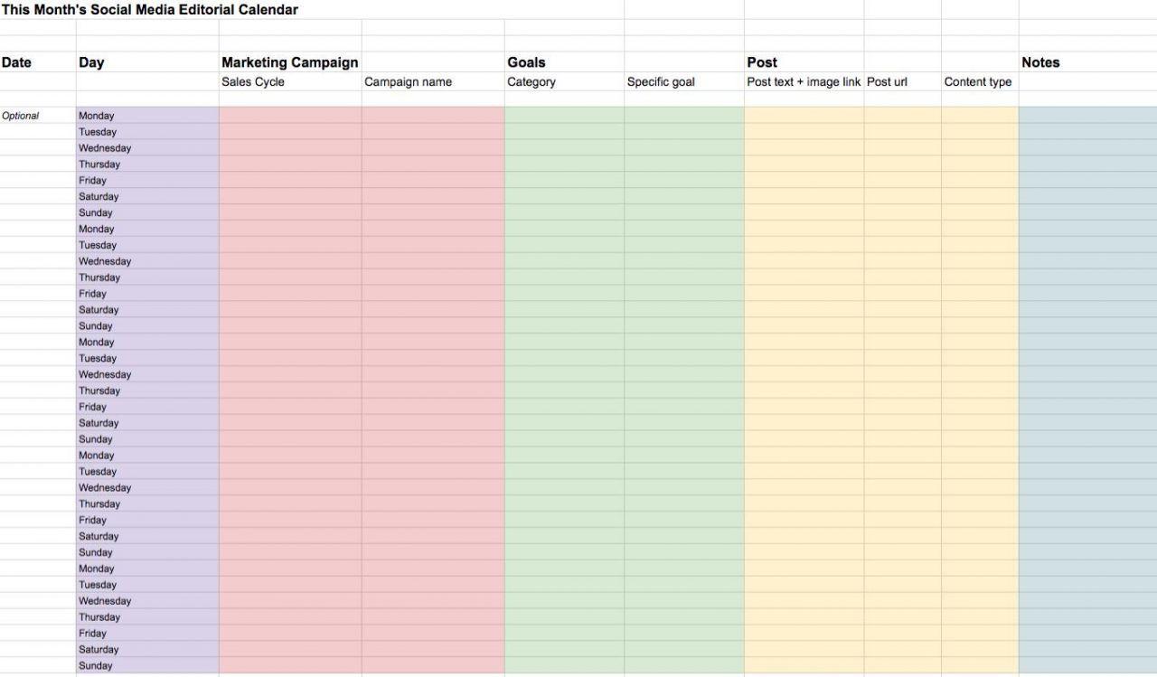 002 Unbelievable Social Media Editorial Calendar Template Sample  Templates Content 2019 Planning 2020Full