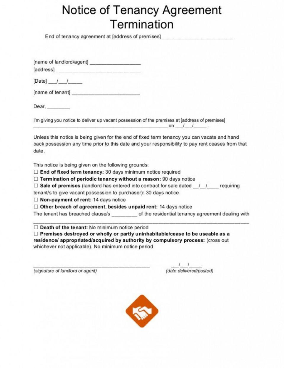 002 Unbelievable Template For Terminating A Lease Agreement Sample  Rental Letter960