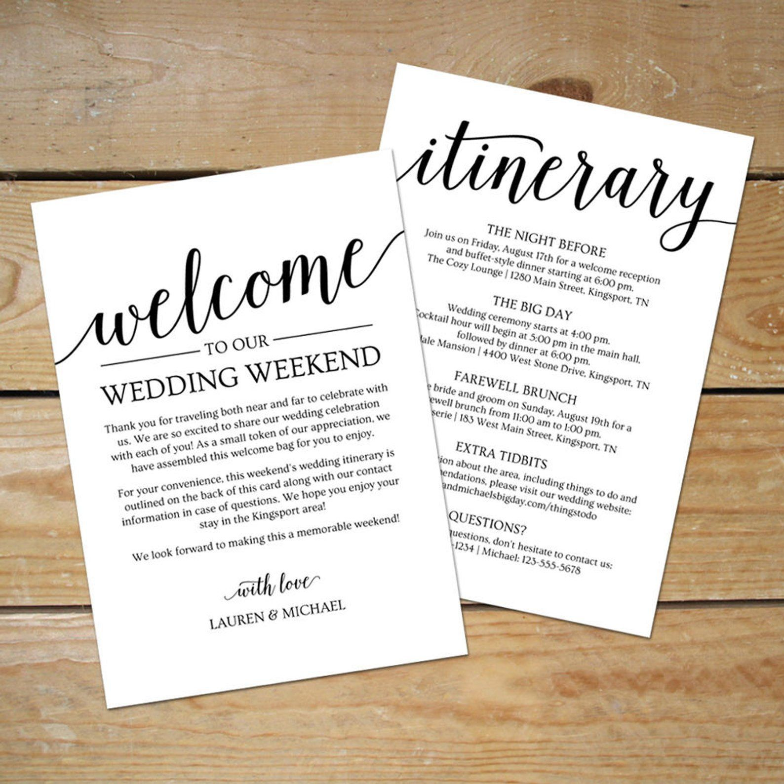 002 Unforgettable Destination Wedding Welcome Letter Template Picture  And ItineraryFull