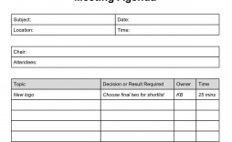 002 Unforgettable Formal Meeting Agenda Template Excel Design