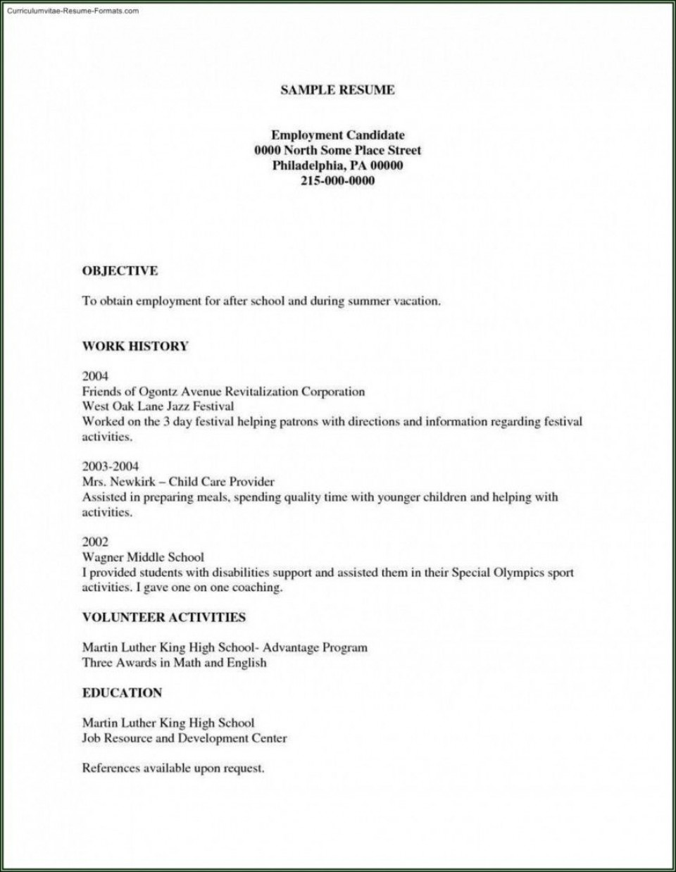002 Unforgettable Free Basic Resume Template Example  Sample Download For Fresher Microsoft Word 2007960