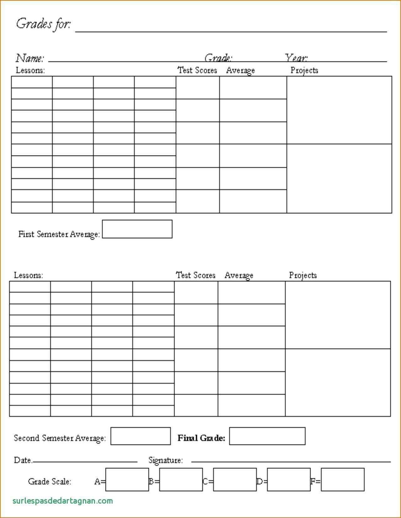 002 Unforgettable Homeschool Middle School Report Card Template Design  8th Grade TranscriptFull