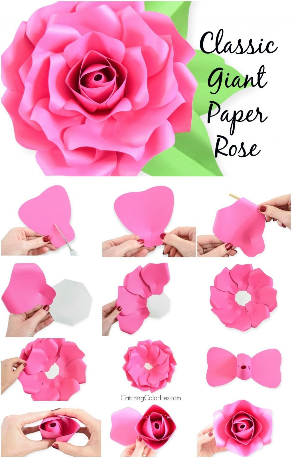 002 Unforgettable Large Rose Paper Flower Template Free Sample Large