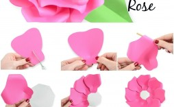002 Unforgettable Large Rose Paper Flower Template Free Sample