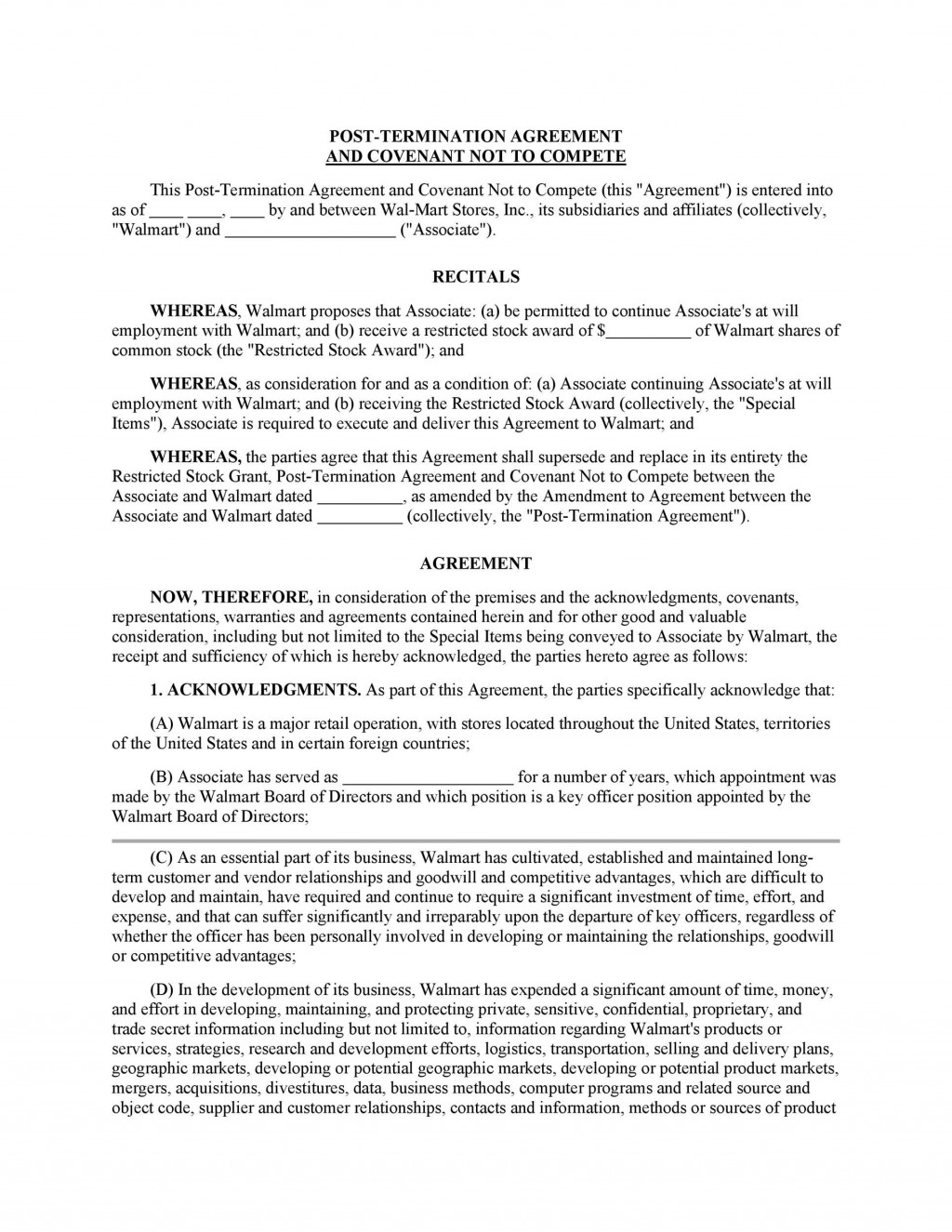 002 Unforgettable Non Compete Agreement Template California Concept Large