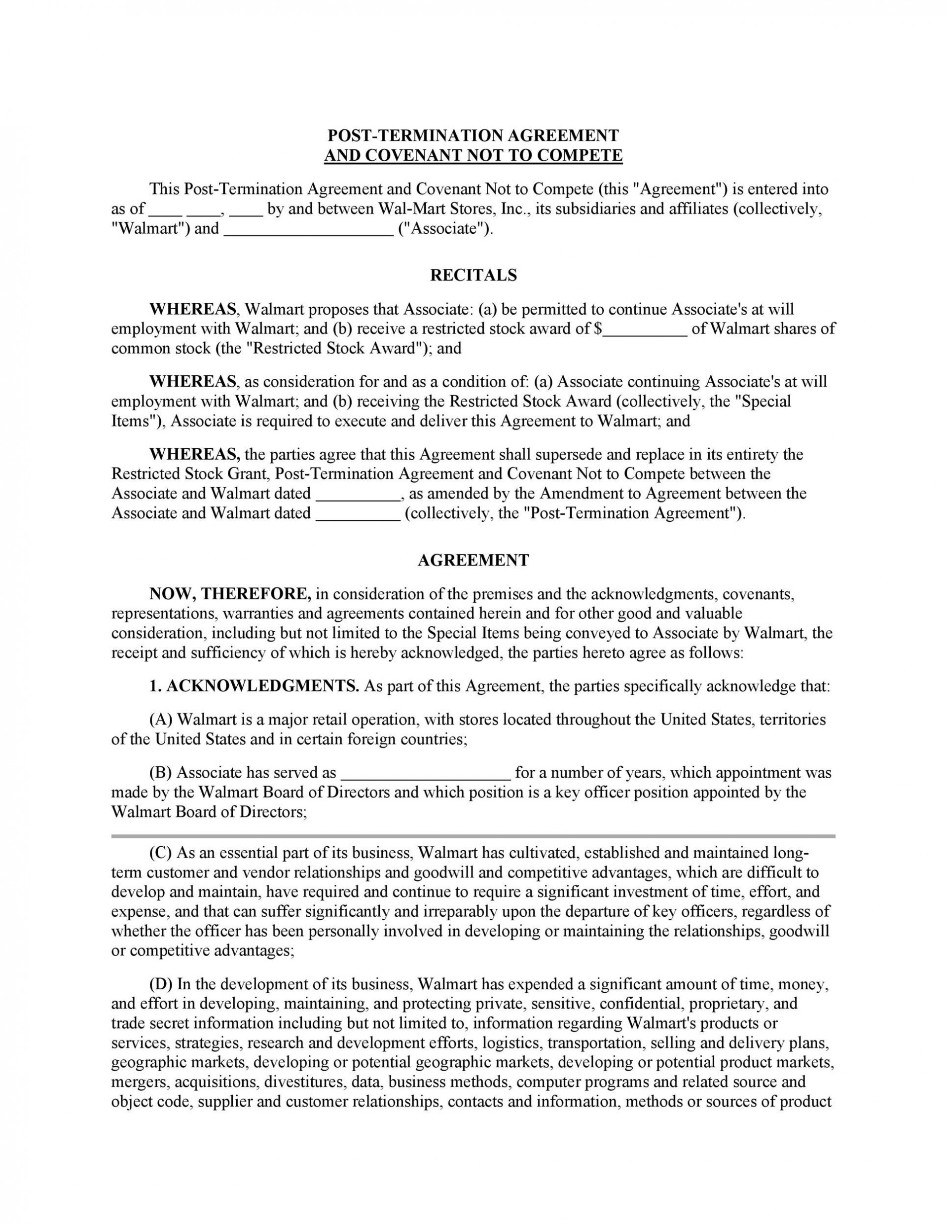 002 Unforgettable Non Compete Agreement Template California Concept 1920