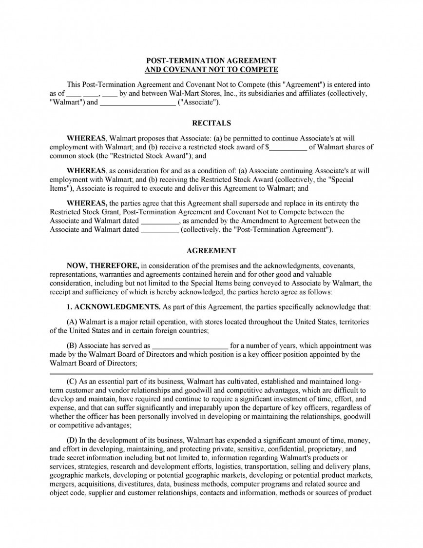 002 Unforgettable Non Compete Agreement Template California Concept 868