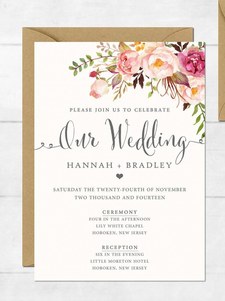 002 Unforgettable Printable Wedding Invitation Template High Definition  Free For Microsoft Word Vintage728